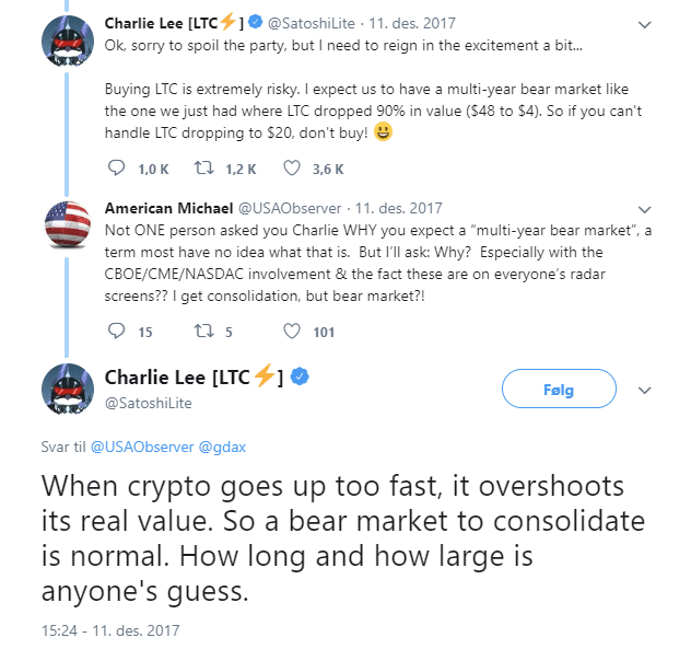 charlie lee tweet about bear market
