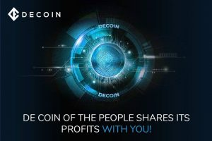 "decoin logo with the text ""de coin of the people shares its profits with you"""