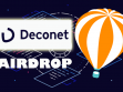 Deconet logo and a illustration of an ico airdrop